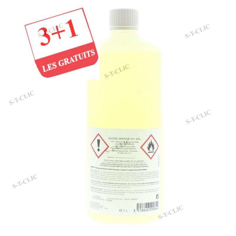 3 FLACONS ALCOOLS DESINFECTANTS 1L +1 OFFERT